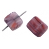 Glass Pressed Beads 8X10mm Cubes Red/Brown Matt